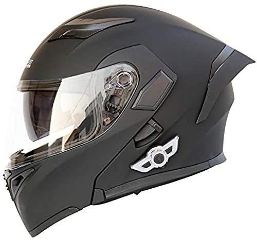 QBAMTX Casco de Motocicleta Modular Integrado con Bluetooth HD Negro Marrón Lente Auriculares y micrófono Integrados Casco de Carreras de Cara Completa Diseño de Personalidad Adecuado pa