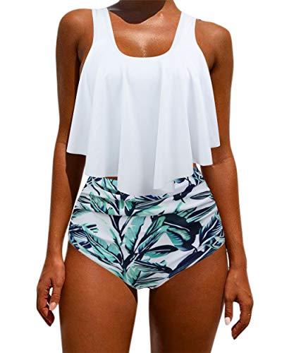 OMKAGI Women's Ruffle Bikini Swimsuit High Waisted Bottom Plus Size Swimwear Tankini(S,White Leaf)