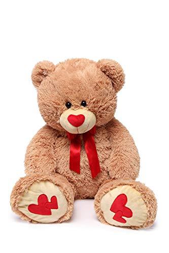 DOLDOA Riesen Teddybär mit Herz 90cm Groß Plüschbär XXL Teddy Stofftier Kuscheltier Geburtstag Geschenke für Freundin,Braun