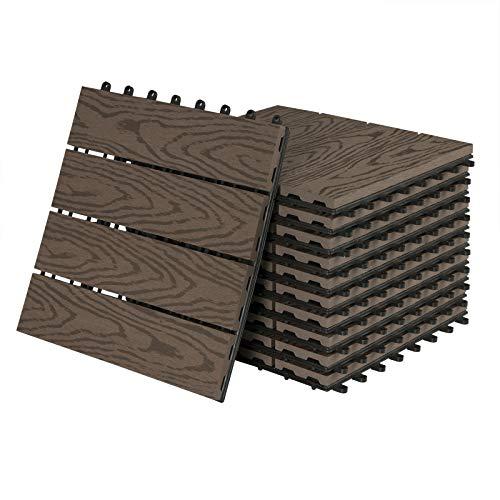 11 Stück WPC Fliesen Klickfliesen Holzfliese Terrassenfliesen 30x30cm, Gehwegplatten Garten Terrasse Balkon Bodenbelag mit Klicksystem in Holzoptik
