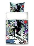 beties Graffiti Scooter Wende-Bettwäsche-Set ca. 135x200 cm digitaler City-Roller-Druck feinste Baumwolle Stunt-Black