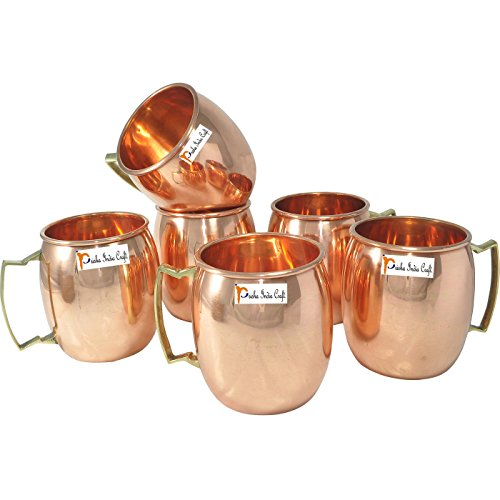 Set of 6 - Prisha India Craft Solid Copper Mug for Moscow Mules 550 ML / 18 oz 100% Pure Copper Best Quality Lacquered Finish Mule Cup, Moscow Mule Cocktail Cup, Copper Mugs, Cocktail Mugs