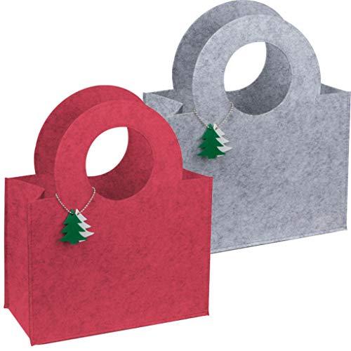 sin4sey 2er Set Filztasche mit weihnachtlichen Tannenbaumanhängern (rot - grau)