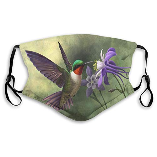 Hummingbird Face Cover Washable Reusable Mask With 6 Filter (Adults&Kids Size)