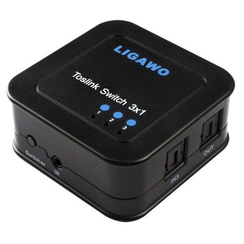 Ligawo 6518740 Audio Umschalter (3x SPDIF-Toslink Eingang auf 1x SPDIF-Toslink Ausgang, USB) inkl. Fernbedienung, IR-Kabel schwarz