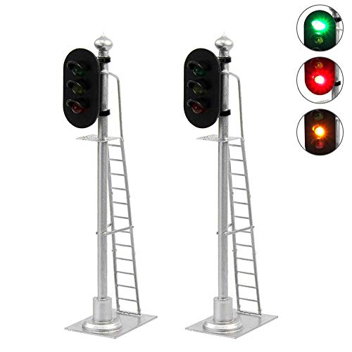 JTD433GYR 2PCS Model Railroad Train Signals 2-Lights Block Signal 1:43 O Scale 12V Green-Yellow-Red Traffic Lights for Train Layout New