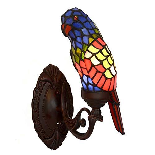 Applique Murale De Style Tiffany Parrot Design Applique Murale En Verre Teinté Pour Salon ChambreE14 × 1