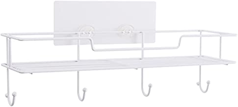 FEI Teng White Wall Hanging Suction Cup Type Iron Kitchen Storage Rack Corner Tray Rack Knife Spoon Condiment Multifunctio...