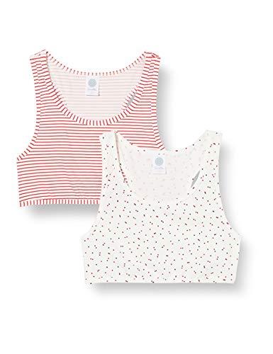 Sanetta Mädchen Bustier Broken White Toller Doppelpack aus Zwei Bustiers im sportiven Ringel-Design und im verträumten Dots-Look, beige, 140