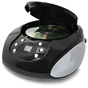 GPX, Inc. Portable Top-Loading CD Boombox with AM/FM Radio and 3.5mm Line In for MP3 Device - Black