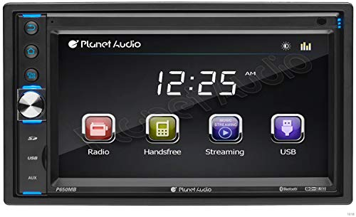 Planet Audio P650MB Multimedia Car Stereo - Double Din, Bluetooth Audio and Hands-Free Calling, MP3 Player, USB, SD, AUX Input, AM/FM Radio Receiver, No CD/DVD Player