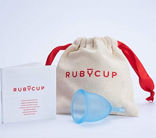 Ruby Cup - Wiederverwendbare Menstruationstasse (leichte Tage, niedriger Gebärmutterhals, Größe: S) - BLAU– inkl Spende. Ideal für Anfänger. Praktische & zuverlässige Alternative zu Tampons & Binden