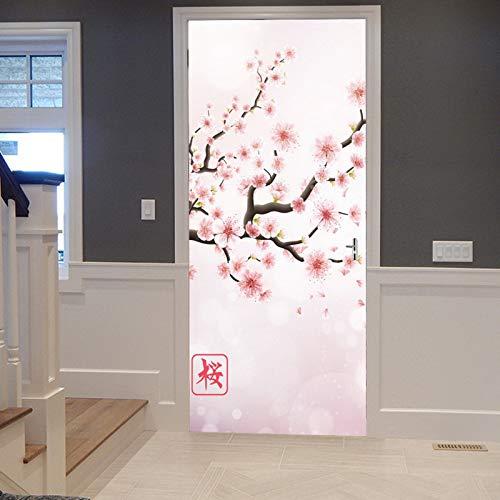 A.Monamour Pegatinas Decorativas de Puerta Autoadhesivo 3D Rama De Cerezo De Japón Flores Rosadas Florecientes Sakura Floral Vinilo para Puertas Mural PVC Pegatinas de Pared Foto Poster 77 x 200 cm