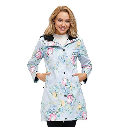 Womens Printed Waterproof Windbreaker Rain Coat Plus Long Lightweight Mositure Wicking Active Outerwear Jackets With Hood Rock Rose-M