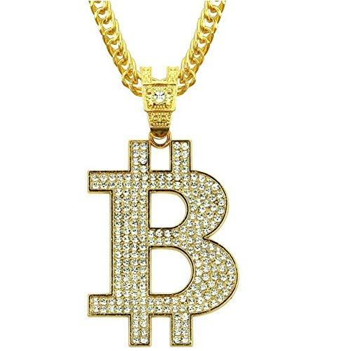 SHUNLU Collar con Colgante De Bitcoin De Color Dorado con Pavé De Diamantes De Imitación De Hip Hop para Hombres, Joyería De Rapero, Cadena Cubana De 30 Pulgadas