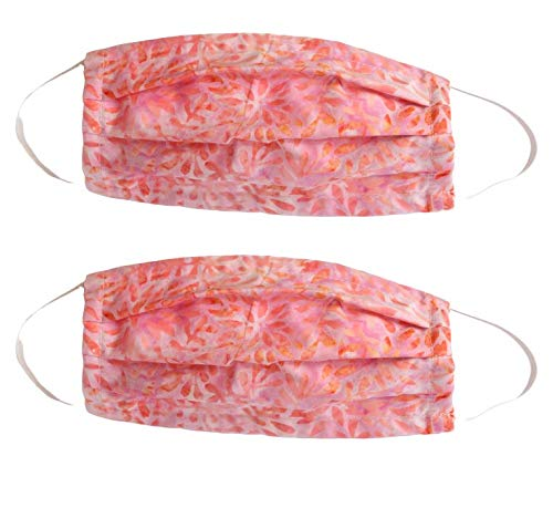 Mosaic 2-Pack Reusable Face Mask (Pink Flowers) Washable for Men and Women