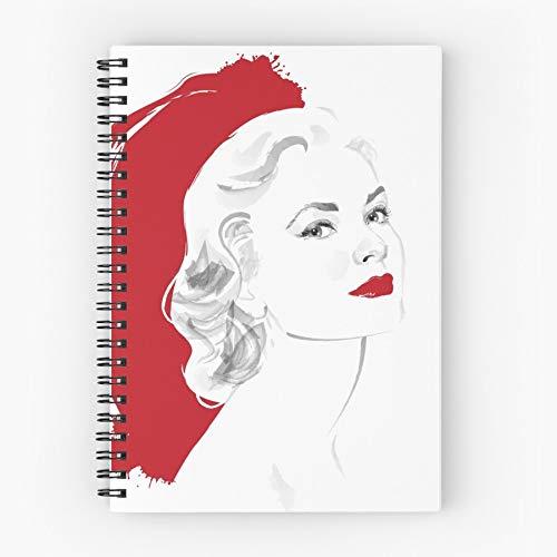 Hitchcock Kelly Blonde Gracia Monaco Icon Hollywood Grace Nettes Schul-Fünf-Sterne-Spiral-Notizbuch mit haltbarem Druck