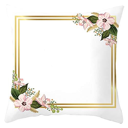 KnBoB Funda de Almohada Blanco Rosa Marco de Flores 45 x 45 cm Poliéster Estilo 21