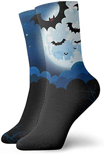 KLING Novedad Divertido Crazy Crew Sock Full Moon en The Halloween Impreso Sport Athletic Calcetines 30cm de largo Calcetines personalizados de regalo