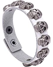 Toyvian Halloween Skull Bracelet Leather Punk Gothic Charm Wristband Bangle Costume Supply for Cosplay Dress up