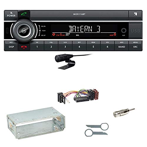 Kienzle MCR 1116 BT Bluetooth USB AUX Autoradio Einbauset für Mercedes E-Klasse W124