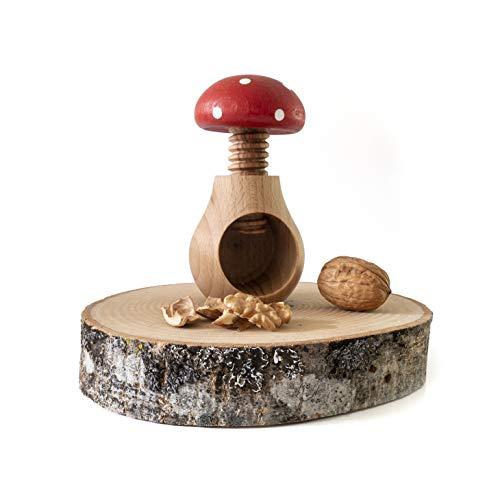 Nussknacker, Pilz, rot, mit Schrauben, praktisch und ästhetisch. Nussknacker aus Holz zum einfachen Öffnen von Nüssen, Nüssen und Mandeln