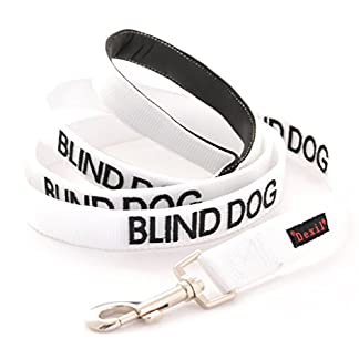 BLIND DOG (Dog Has Limited/No Sight) White Colour Coded 60cm 1.2m 1.8m Neoprene Padded Handle Dog Leads PREVENTS Accidents By Warning Others Of Your Dog In Advance (1.2m) 1