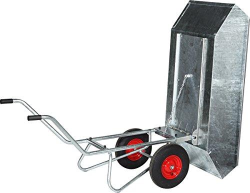 Schwarz Transportgeräte Kippkarre mit Stahlblechwanne, verzinkt Zweiradkarre Handtransportgeräte, 207 x 79 x 85 cm