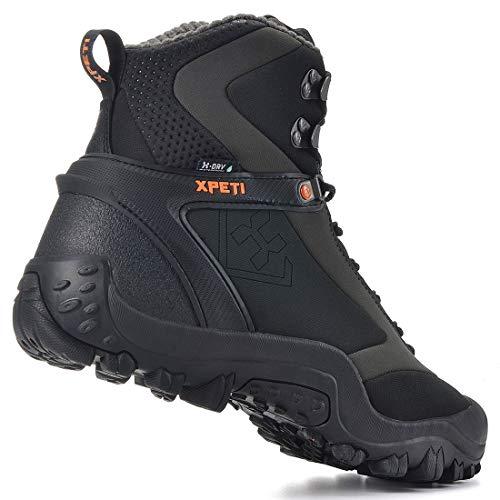 XPETI Men's Ridge Thermal Mid-Rise Waterproof Hiking Trekking Insulated Outdoor Boot (9) Black