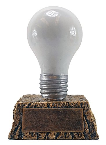 Decade Awards Light Bulb Trophy, White - Great Idea Award - 6 Inch Tall - Engraved Plate on Request