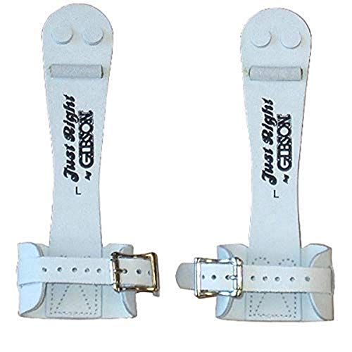 Gibson Athletic Single Buckle Just Right Uneven Bar Grips, Gymnastics, Girls, White, Medium