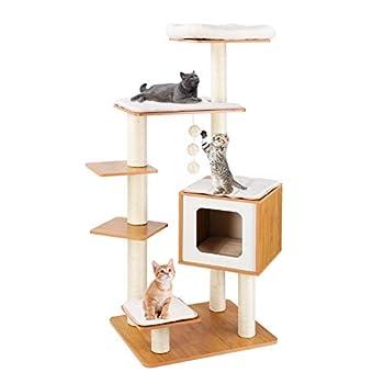 LAZY BUDDY Arbre à Chat en bois, Griffoir Chats 100 % Sisal, avec Niche pour chats, 4 Plateformes, Tapis Amovibles et Lavables, 138 cm