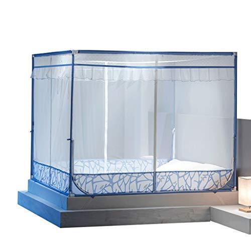 Mosquitera 1.2/1.35/1.5/1.8/2 / 1.8 * 2.2 m Cama con Cremallera Cuadrado Superior Tres Puertas Doble hogar (Color : Azul, Tamaño : Bed 2m)