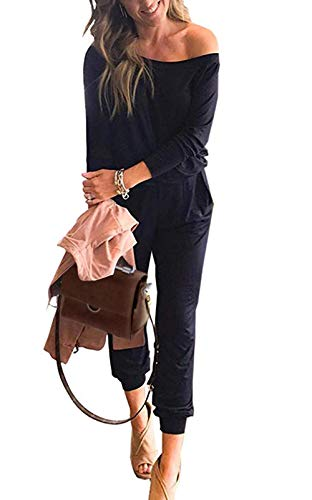PRETTYGARDEN Women's Casual Long Sleeve Jumpsuit Crewneck One Off Shoulder Elastic Waist Stretchy Romper with Pockets Navy