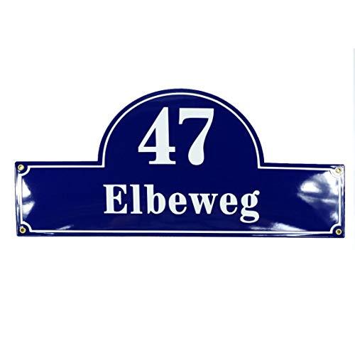 Plaque de rue emaillée personnalisée 24x50 cm - 10 ans de garantie numéro