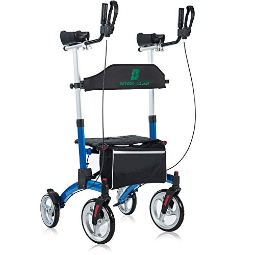 BEYOUR WALKER Upright Rollator Walker with Adjustable Backrest, 10  Front Wheels and Double Zipper Bag for Seniors, Blue