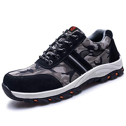SUADEEX Damen Herren Sicherheitsschuhe Sportlich Trekking Wanderhalbschuhe Stahlkappe Arbeitsschuhe Hiking Schuhe Traillaufschuhe, Schwarz, 40 EU