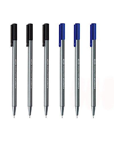 Staedtler Triplus Fineliner 0.3mm - Pack of Six (3 Black & 3 Blue) Color: 3 Black & 3 Blue, Model:, Office/School Supply Store
