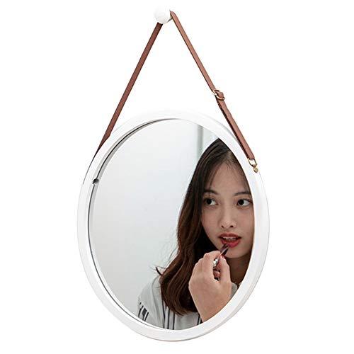 HXLQ wandspiegel met verstelbare lederen band, decoratieve spiegel voor woonkamer, slaapkamer