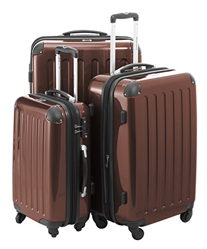 HAUPTSTADTKOFFER - Alex - 3er Koffer-Set Trolley-Set Rollkoffer Reisekoffer Erweiterbar, 4 Rollen, TSA, (S, M & L), Braun