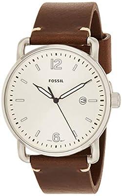 Reloj marca FOSSIL modelo The Commuter, con 3 agujas, fecha y correa de cuero.