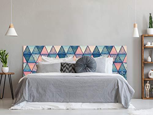 Cabecero Cama PVC Impresión Digital sin Relieve Estampado en Triángulos 150 x 60 cm | Disponible en Varias Medidas | Cabecero Ligero, Elegante, Resistente y Económico