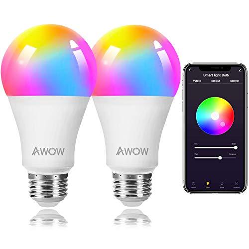 Smart Light Bulb, Wifi Glühbirne, Alexa Glühbirne, Smart Glühbirne, AWOW WLAN Lampen,16 Millionen mehreren Farben, Warmes und Kaltes Licht, ohne Hub, kompatibel mit Alexa, Google Assistant,Siri