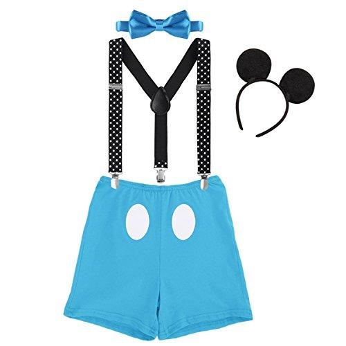 IWEMEK Babys Mickey Mouse 1. / 2./ 3. Geburtstag Halloween Kostüm Outfit Unterhose + Fliege + Y-Form Hosenträger + Maus Ohren 4pcs Bekleidungssets Fotoshooting Kostüm für Unisex Jungen Mädchen