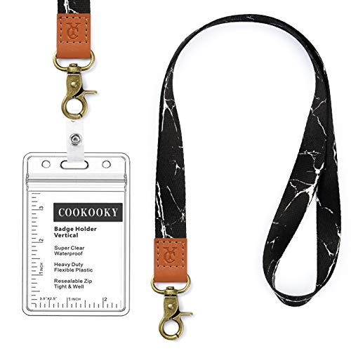 Lanyard with id Holder Cute lanyards for Women Lanyard for Keys id Badge Holder (Black Marble)