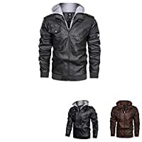 Men's Leather Jacket-Fall Winter Vintage Motorcycle Biker Jacket with Removable Hood,pu hooded jacket (Gray, M)