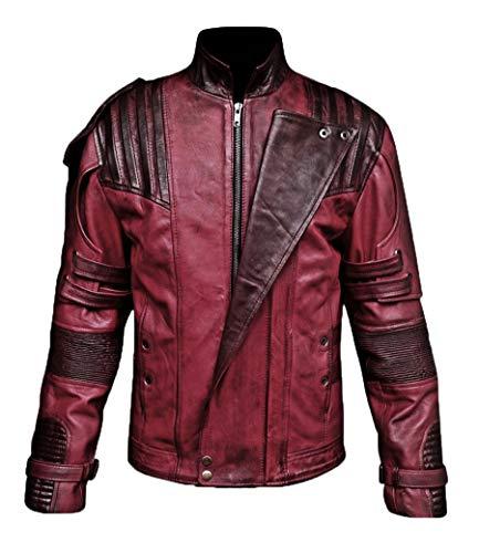 So-Shway Star Distressed Lederjacke Herren - Maroon Costume Jacket for Men (X-Large - (for Body Chest 42-44))