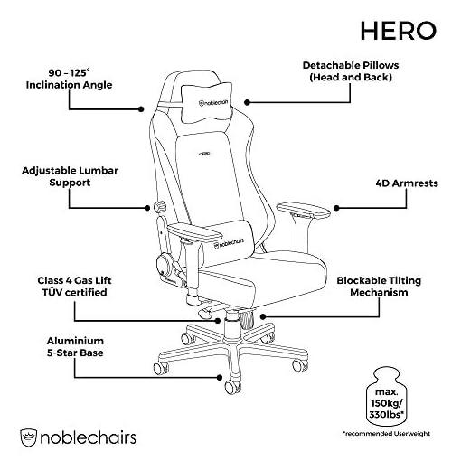 noblechairs Hero Sedia da Gaming - Sedia da ufficio - Sedia da scrivania - Ecopelle PU - 150 kg - 135° Reclinabile… 4