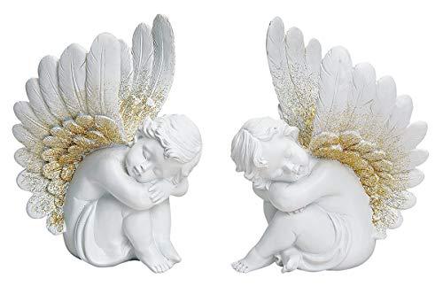 NAMENLOS Sitzende, schlafende Engel, weiß-Gold, 2er Set   Cherubin, Deko-Figur, Deko-Artikel, Statue, Skulptur, H 18 cm