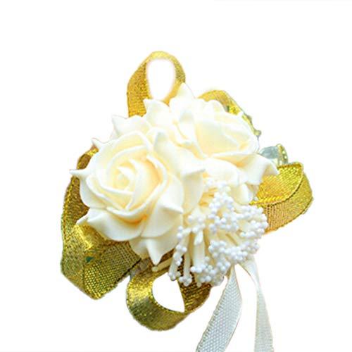 Hearsbeauty Bouquet da polso con rose, fiori, in schiuma, da sposa e damigella, per festa di nozze, braccialetto con nastri Champagne